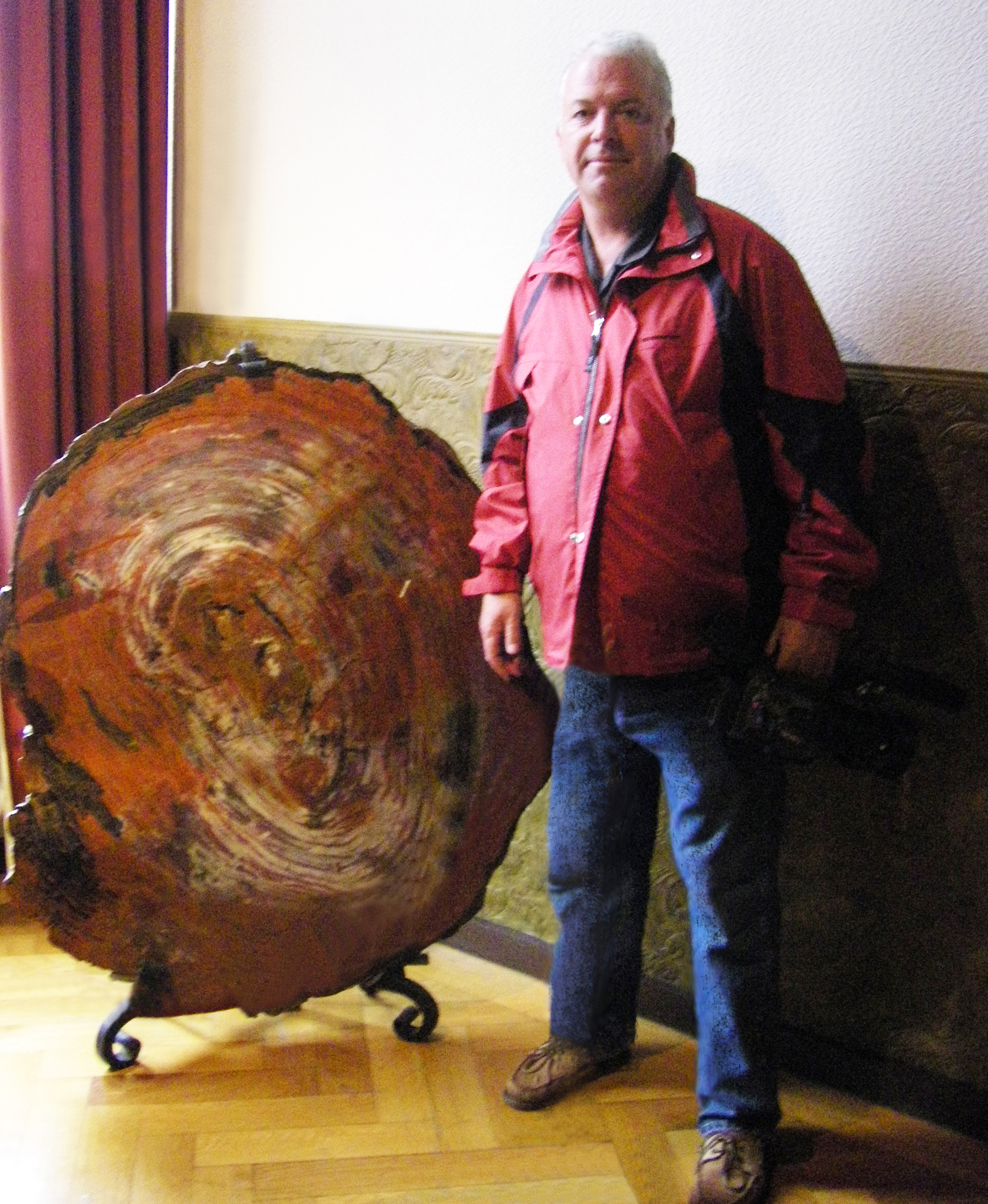 Jay King with large Petriefied Wood Specimen